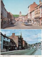 TWO WELSHPOOL POSTCARDS HIGH STREET AND BROAD STREET - 1970's Showing MORRIS MINOR - BEDFORD VAN ETC - Montgomeryshire