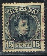 Sello 15 Cts Alfonso XIII, Carteria AZAILA (Teruel), Edifil Num 244 º - Used Stamps