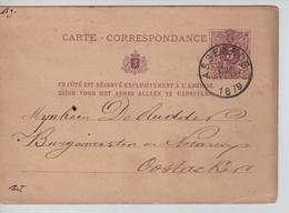 Entier CP N°9 C.Assenede 27/8/1879 V.Oostacker C.d'arrivée Gand 2169 - Entiers Postaux