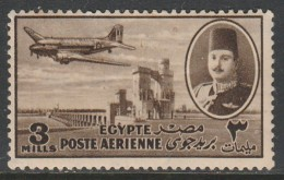 Egypt 1947 Airmail - Nile Dam And King Farouk 3 M Brown SW 309 O Used - Egypt