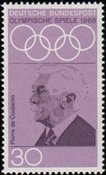 GERMANY - Scott #986 Mexico City '68 Olympic Games,  Pierre De Coubertin / Mint NH Stamp - Summer 1968: Mexico City