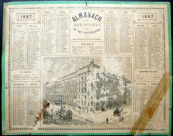 CALENDRIER ALMANACH P T T LA POSTE 1887 PARIS HOTEL DES POSTES TRACES PAPIER COLLANT - Calendars