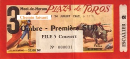 Billet De Corrida Du 24/07/1962 Arènes De MONT-DE-MARSAN 40 - Scans Recto-verso - Tickets D'entrée