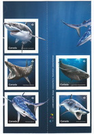 = SHARKS = Hai = HAIFISCH = REQUIN = Tiburón = SQUALO = Full Set Of 5 Stamps = Centre Cut From Booklet MNH Canada 2018 - Marine Life