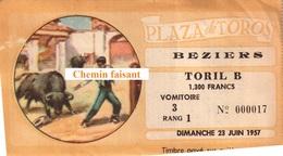 Billet De Corrida Du 23/06/1957 Arènes De BEZIERS 34 - Scans Recto-verso - Tickets D'entrée