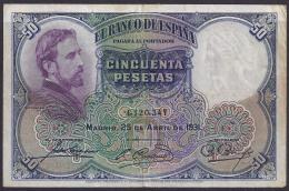ESPAÑA 1931 - BILLETE BUEN ESTADO - 50 Pesetas