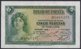 ESPAÑA 1935 - BILLETE SIN CIRCULAR - 1-2-5-25 Pesetas