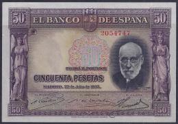 ESPAÑA 1935 - BILLETE SIN CIRCULAR - [ 2] 1931-1936 : Republic