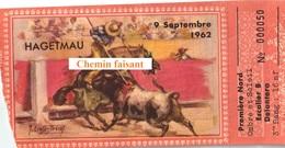 Billet De Corrida Du  09/09/1962 Arènes De HAGETMAU 40 - Scans Recto-verso - Tickets D'entrée
