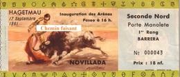 Billet De Corrida Du  17/09/1961 Arènes De HAGETMAU 40 - Scans Recto-verso - Tickets D'entrée
