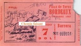 Billet De Corrida Du  06/10/1957 Arènes De BORDEAUX 33 - Scans Recto-verso - Tickets D'entrée