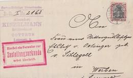 DR Zustellungsurkunde EF Minr.90I Cottbus 27.9.08 - Deutschland