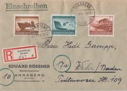 DR R-Brief Mif Minr.873,881,883 Annaberg 22.4.44 - Deutschland