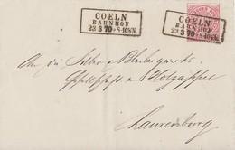 NDP Brief EF Minr.16 R3 Coeln Bahnhof 23.3.70 - Norddeutscher Postbezirk