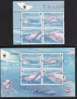 MACAO, 2017, MNH, WWF, CHINESE WHITE DOLPHIN, DOLPHINS, SET+ SHEETLET - W.W.F.
