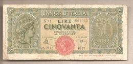 """Italia - Banconota Circolata Da 50 Lire """"Luogotenenza Italia Turrita"""" P-74- 1944 - [ 1] …-1946: Königreich"""
