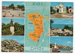 GREECE/GRECE/GRECIA - SOUVENIR DE CHIO/CHIOS / MAP / THEMATIC STAMPS-COSTUMES - Grecia