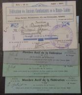 Lot De 4 Cartes D'ancien Combattant De La Haute-Saône - 1934, 1952, 1953, 1954 - Documents Historiques