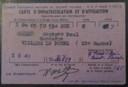 Carte De La Caisse Militaire De Sécurité Sociale - Documents Historiques
