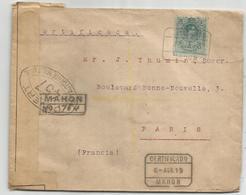 ESPANA 50C LETTRE COVER REC MAHON 1919 POUR FRANCE CENSURE 457 - Covers & Documents