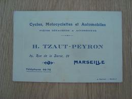 CARTE DE VISITE H. TZAUT-PEYRON CYCLES MOTOCYCLETTES ET AUTOMOBILES MARSEILLE - Cartes De Visite