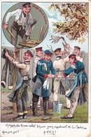 AK Deutsche Soldaten Bei Der Wäsche - Stiefel Weich Machen - Verlag W. Steinberg, Breslau - Altona 1902 (35736) - Humor