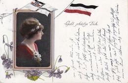AK Gott Schütze Dich - Frau Mit Blumen - Fahnen - Patriotika - Bahnpost Merseburg-Querfurt - 1916 (35737) - Humor