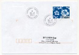 "POLYNESIE FRANCAISE - Enveloppe Affr. Pareo Oblitérée "" HAKAMAII - UA POU / MARQUISES"" 30-12-2011 - Lettres & Documents"