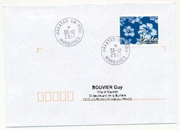 "POLYNESIE FRANCAISE - Enveloppe Affr. Pareo Oblitérée "" HAKATAO - UA -  POU / MARQUISES"" 30-12-2011 - Lettres & Documents"