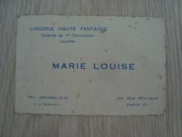 CARTE DE VISITE MARIE LOUISE LINGERIE PARIS - Cartes De Visite