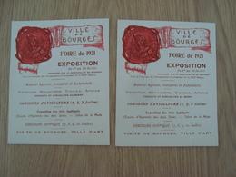 LOT DE 2 DOCUMENTS PUBLICITAIRES FOIRE DE 1921 BOURGES - Publicidad
