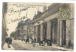 REIMS - Rue Cérès - Hôtel Des Postes Et Télégraphes, Chambre De Commerce Et Bourse - Carte Pailletée - Reims