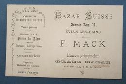 Rare Cdv Carte De Visite XIXe 73 Savoie BAZAR SUISSE Evian-les-Bains F. MACK Objets D'industrie Suisse - TBE - Cartes De Visite