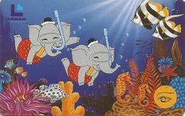 Thailand LENSO Card Jim And Jum Elephant Undersea World 500 Baht - Thaïlande