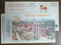 Conveyor Belt,reaction Tower,China 1996 Yunnan Qujing Chemical Fertilizer Advertising Pre-stamped Card - Chemistry