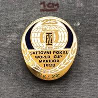 Badge Pin ZN007001 - Skiing Yugoslavia Slovenia Maribor World Cup 1988 Branik PRESS - Winter Sports