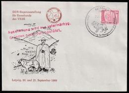 Exposition Canine Allemagne Orientale - Leipzig 20 Et 21 Septembre 1986 - Obl. Sur T-P N° 1561 - Chiens