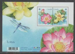 CANADA, 2018, MNH,FLORA, FLOWERS,LOTUS, DRAGONFLIES, S/SHEET - Plants