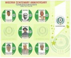 Nigeria 2014 Centenary Presidents MHN Mint Imperforate Miniature Sheet - Nigeria (1961-...)