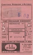 1947 ( ?) - Carte Hebdomadaire - CNA -  (Compagnie Normande D' Autobus) -  Avec Publicité Pour Un Magasin De Rouen - Abonnements Hebdomadaires & Mensuels