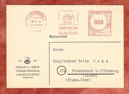 Buecherzettel, Absenderfreistempel Ensslin & Laiblin Reutlingen, Nach Fessenbach 1948 (54691) - Bizone