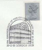 1986 Crystal Palace FIRE 50th Anniv EVENT COVER Gb  Stamps London Glass Building - Sapeurs-Pompiers