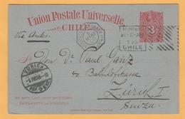 C12  Entier Postal Chili Valparaiso 25.2.00+ Hexagonal= Lignes Maritimes Bueno-Ayres A Bordeaux 9.3.00 + Zürich - France (former Colonies & Protectorates)