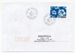 "POLYNESIE FRANCAISE - Enveloppe Affr. Pareo Oblitérée ""TAIPIVAI - NUKUHIVA - MARQUISES"" 30-12-2011 - Lettres & Documents"