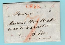 Dép.3  MP  96 Liège 13.9.1806 + C.F.2.R Pour Breda Pays-Bas - Marcofilie (Brieven)