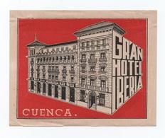CUENCA HOTELS HOTEL LUGGAGE LABEL ETIQUETTE DE VALISE SPAIN ESPAÑA ESPANA - Hotel Labels