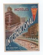SAN SEBASTIAN HOTELS HOTEL LUGGAGE LABEL ETIQUETTE DE VALISE SPAIN ESPAÑA ESPANA - Hotel Labels