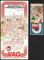 Germany Nurnberg 1982 / U Bahn / Metro / Subway / Trains / Railway / Ticket + Plan - Europe