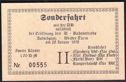 Germany Nurnberg 1978 / U Bahn / Metro / Subway / Trains / Railway / Ticket /Sonderfahrt  Aufsessplatz - Weisser Turm - U-Bahn