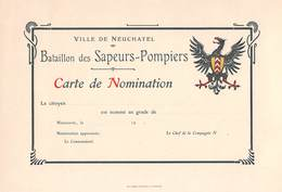 Ville De Neuchâtel - Bataillon Des Sapeurs-Pompiers - Carte De Nomination (dimensions 24 X 16 Cm) - Decrees & Laws